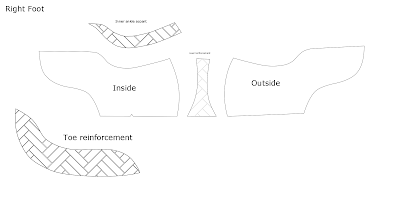 Image shows a herringbone design on shoe pattern pieces