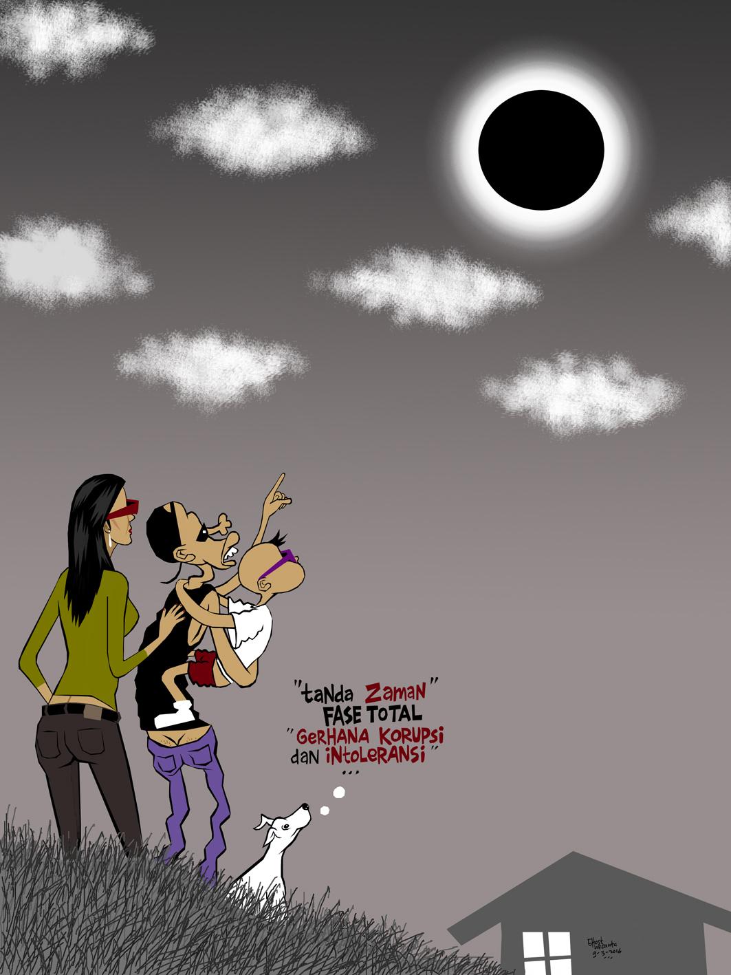 Gambar Lucu Kartun Gerhana Matahari Pos DP BBM