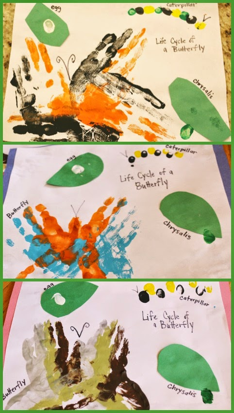 preschool butterfly hand print craft
