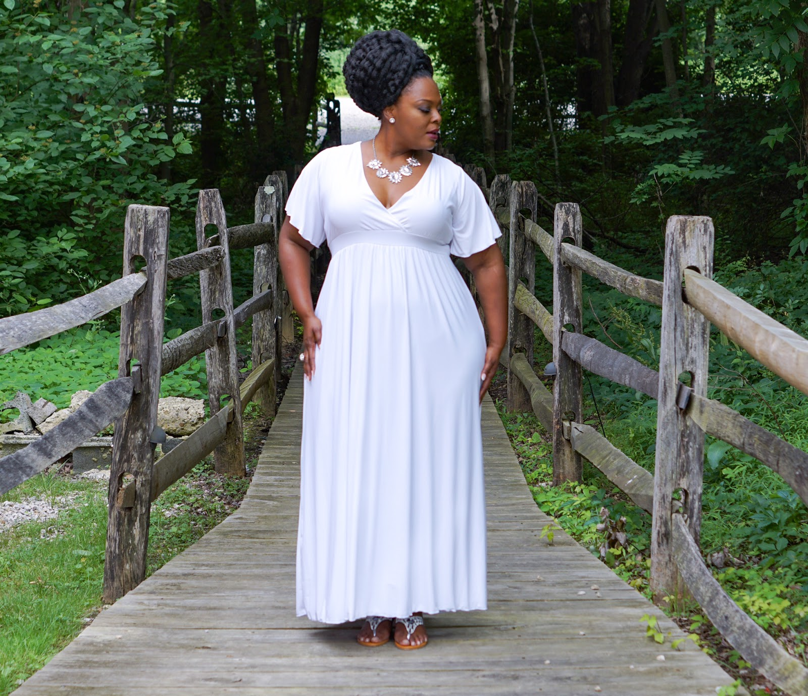 Classic plus size maxi dress in white by swak designs address