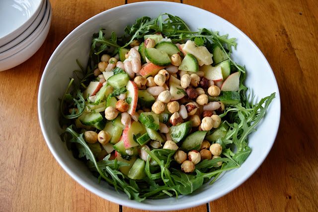 Cucumber, Bea, Mint and Apple Salad with Hazelnuts in a bowl
