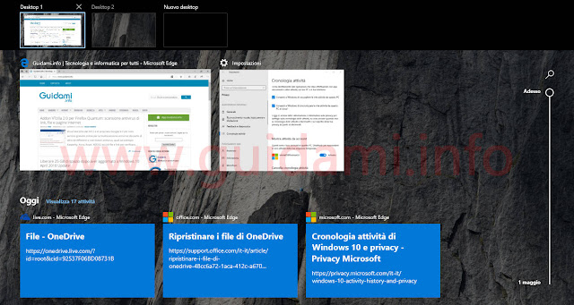 Schermata della Timeline - Visualizzazione attività di Windows 10 April 2018 Update