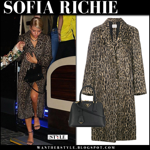 Sofia Richie in leopard print coat dorothee schumacher with black bag prada promenade street fall winter fashion october 20 2017