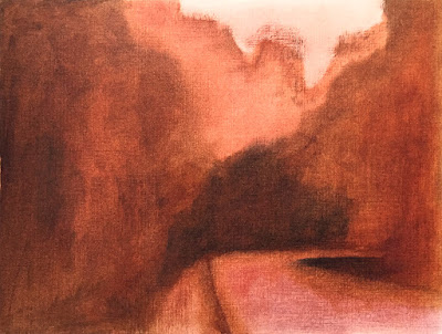 landscape study based on Painting the Poetic Landscape Color Harmony lesson - block-in