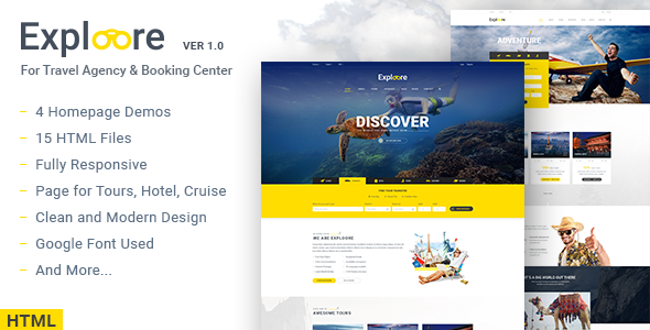 EXPLOORE - Travel, Exploration, Booking HTML Template