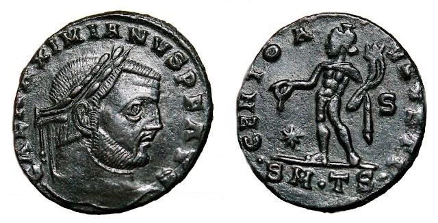 Moneda a nombre de Galerio Maximiano