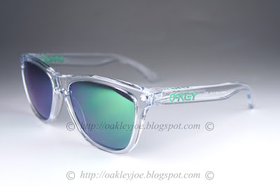 discount oakley frogskins vgl3  oo9013-A3 Frogskins crystal clear + jade iridium $190 lens pre coated with  Oakley hydrophobic nano solution complete set comes with box and microfiber  pouch