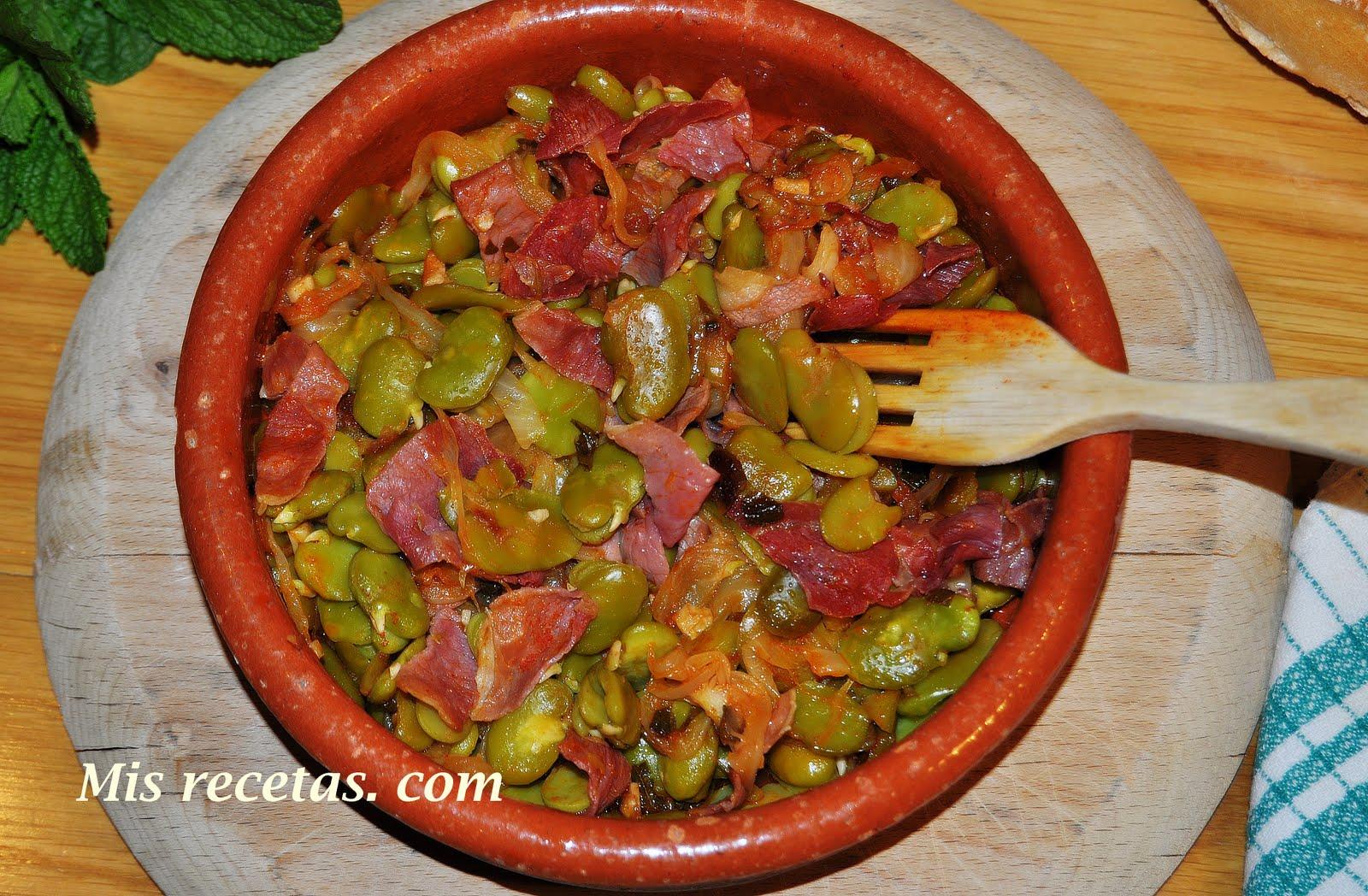 Mis recetas com habas a la andaluza - Habas frescas con jamon ...