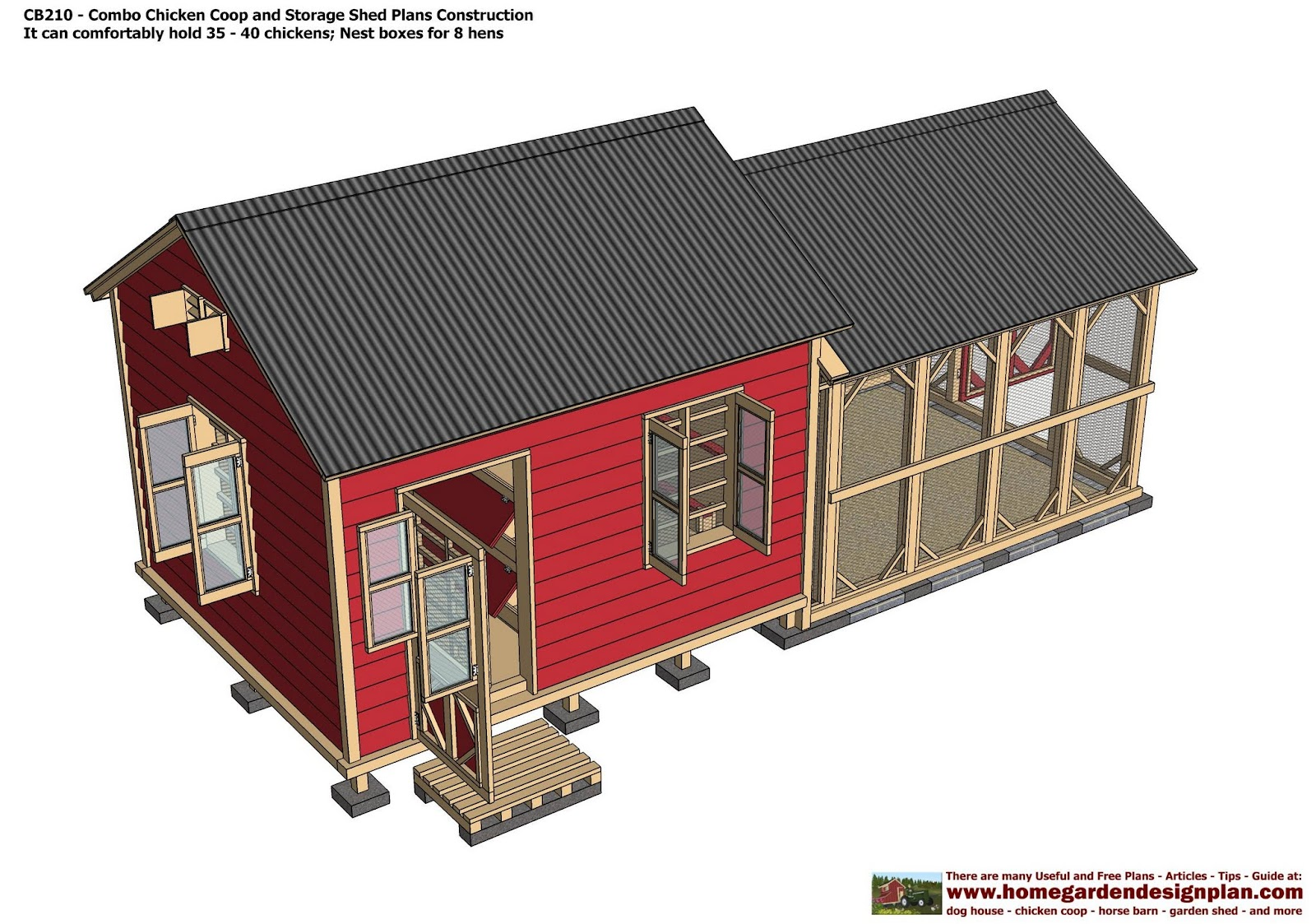 Home garden plans cb210 combo plans chicken coop for House barn combo plans