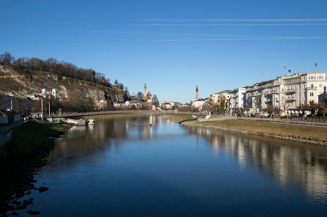 Panorama dal fiume Salzach-Salisburgo