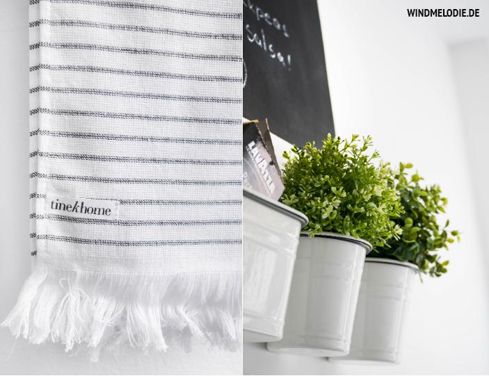 TineK home Handtuch Kräutertöpfe Küche weiß