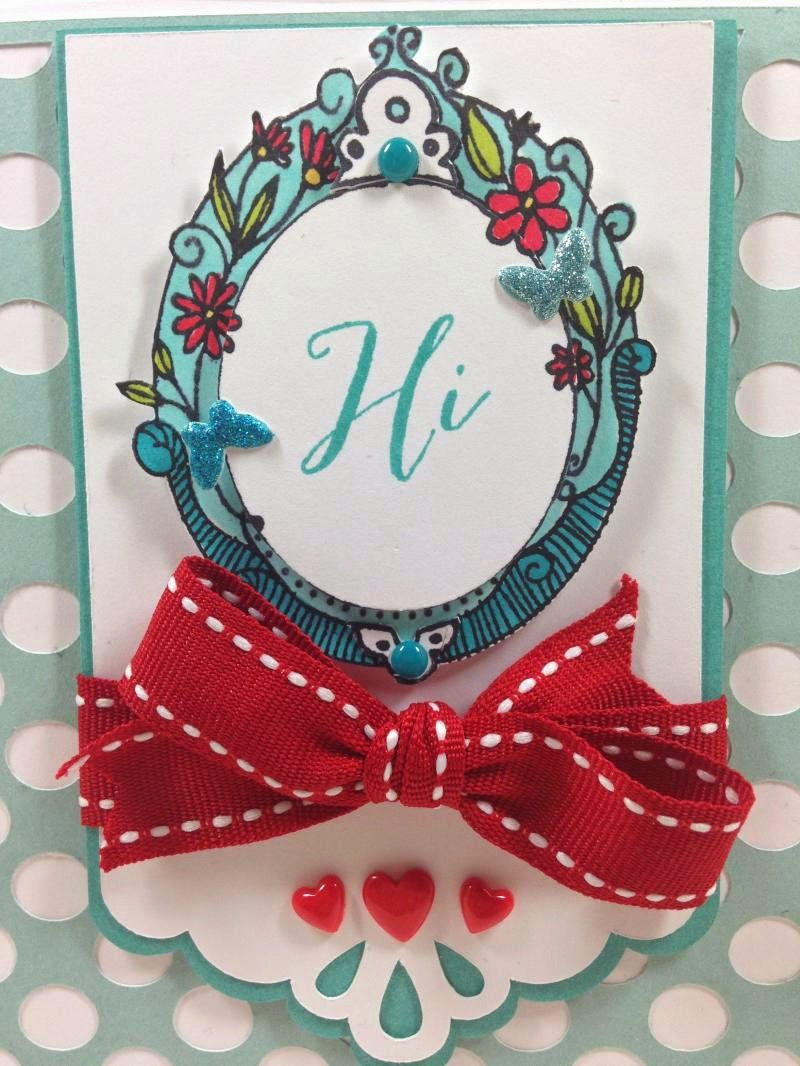 Cricut Artbooking Polka Dot card closeup