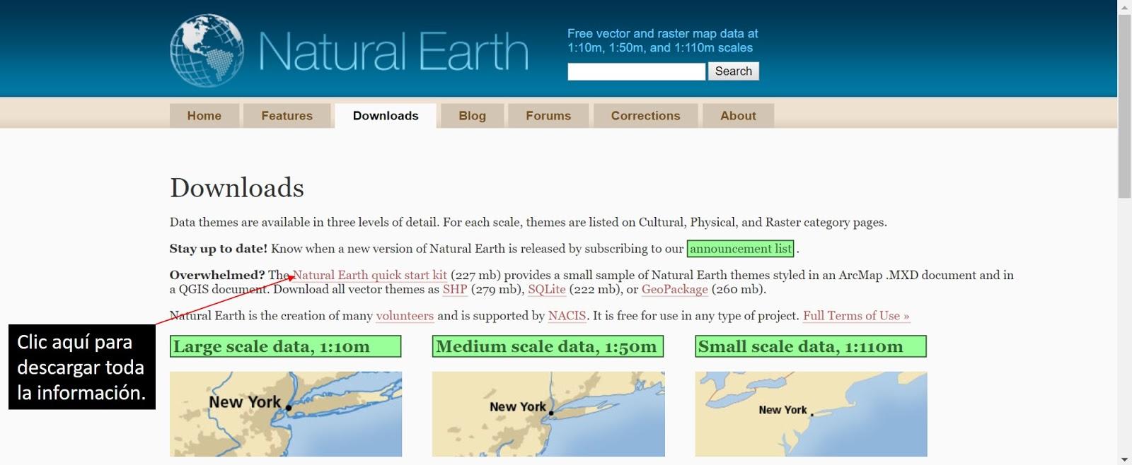 Blog SIG: Como descargar información en Natural Earth