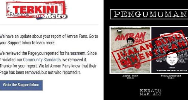 Laman Fb Page Amran Fans Dibekukan, Jualan Buku Dihentikan Serta Merta