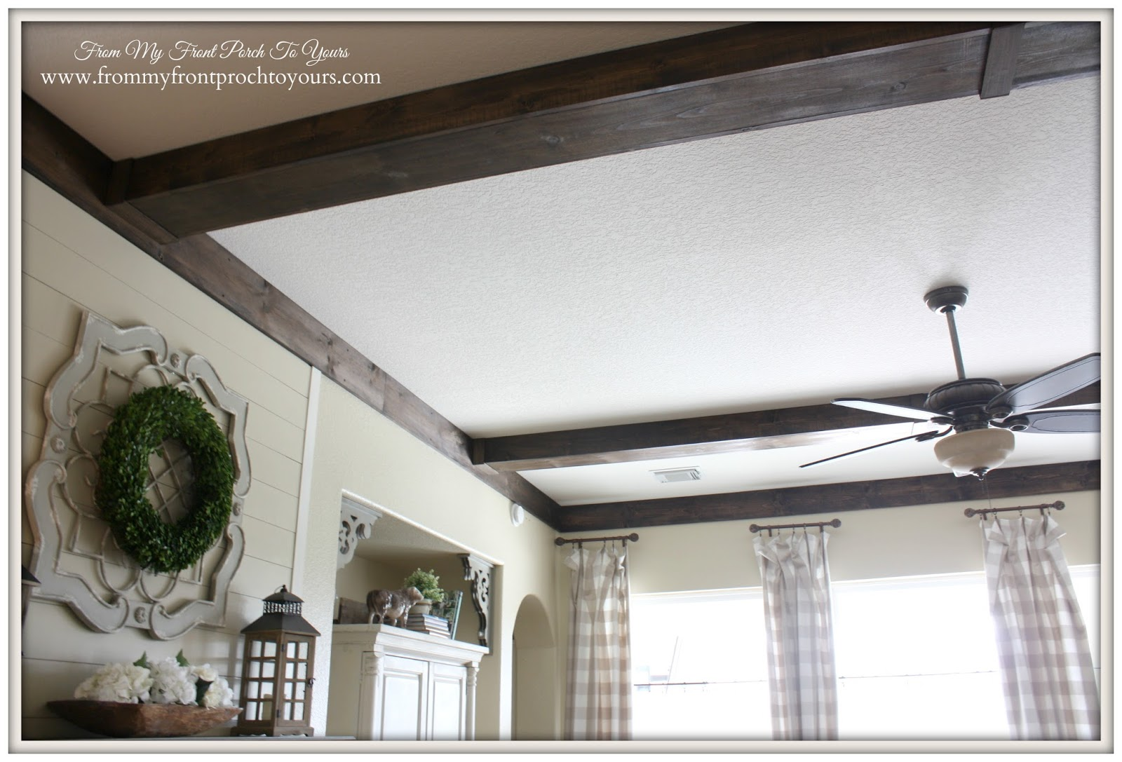 Wood beams for our french farmhouse living room at From My Front Porch To Yours.