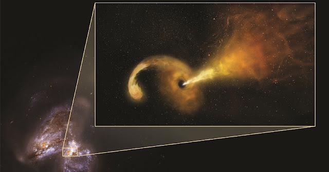Artist's conception of Tidal Disruption Event (TDE) in Arp 299. Powerful gravity of supermassive black hole shreds passing star, pulling material into disk rotating around the black hole, and launching jet of particles outward. Artist's conception in pullout -- background is Hubble Space Telescope image of Arp 299, a pair of colliding galaxies. Credit: Sophia Dagnello, NRAO/AUI/NSF; NASA, STScI