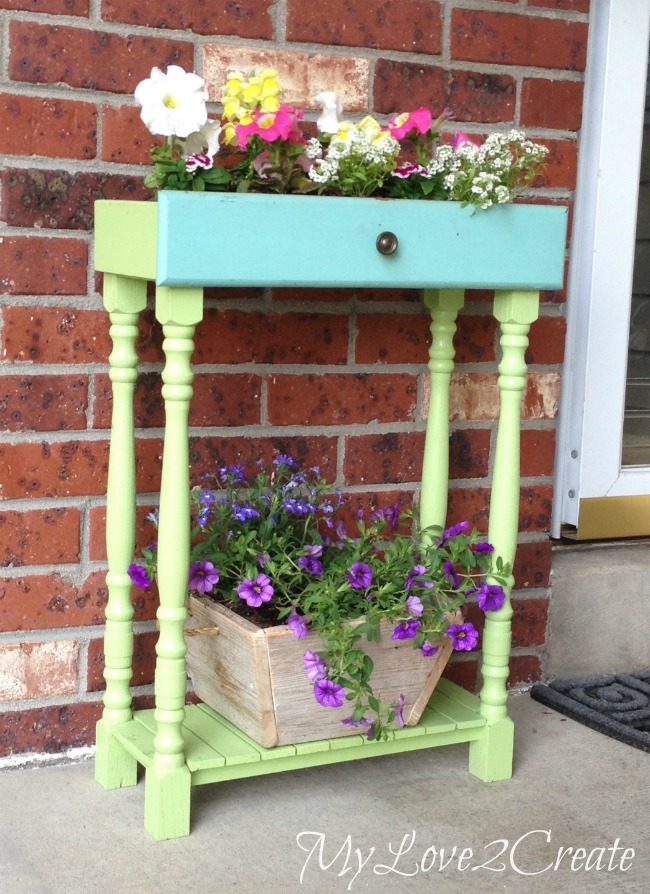 turn an old drawer into a planter