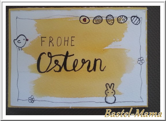 Ostern, Karte, Aquarell, Doodle, Handlettering, SU Osterkörbchen
