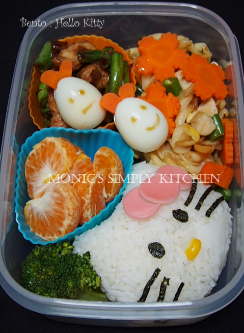 membuat bento hello kitty