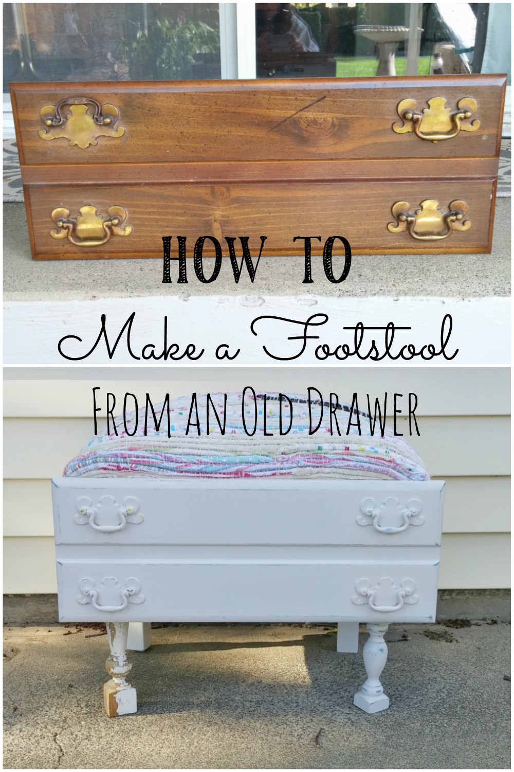 Make an adorable little footstool from an old drawer!