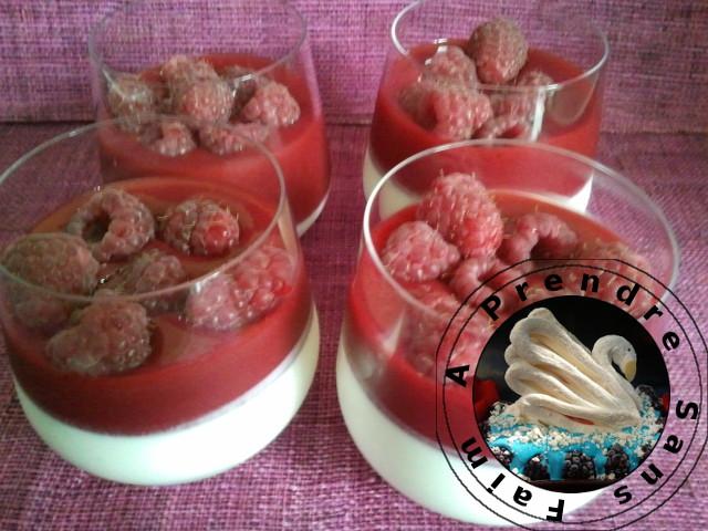 Panna Cotta italienne au yaourt et aux framboises