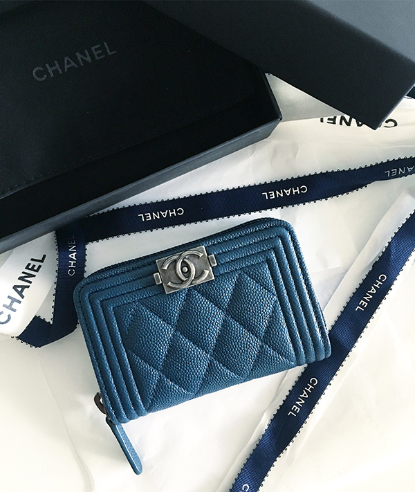 Chanel Boy coin purse in blue