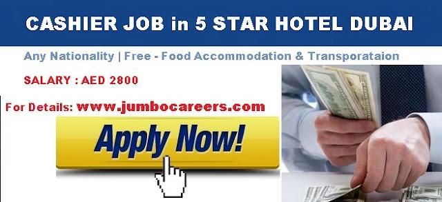 Cashier Job In 5 Star Hotel Dubai With Free Food Accommodation 2018
