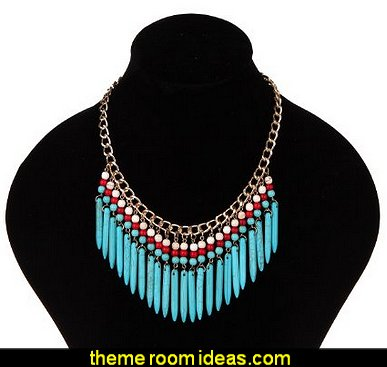 Bohemia Turquoise Spike Tassel Fringe Bib Statement Choker Deluxe Gold Chain Necklace