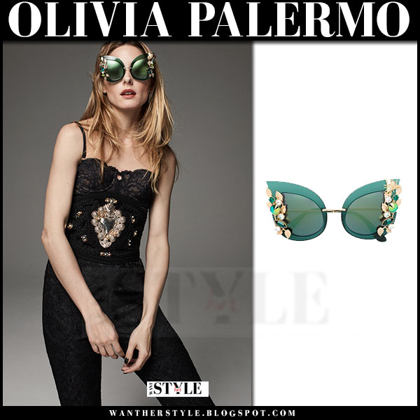 Olivia Palermo in green cat eye embellished sunglasses Dolce and Gabbana what she wore