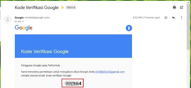 Kode Verifikasi dari Google