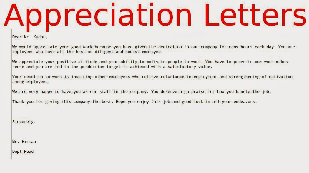 Sample Letter Of Appreciation For Employee