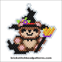Click to view the Teddy Bear Witch Halloween brick stitch bead pattern charts.