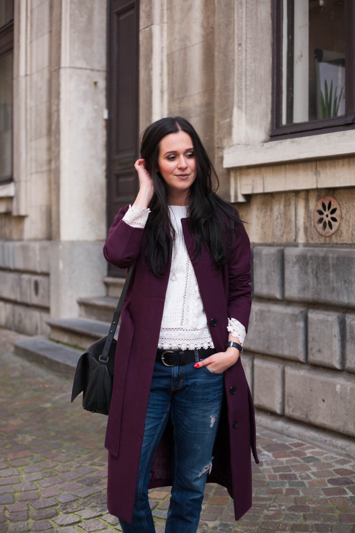 Outfit: eggplant robe coat, Edwardian blouse and boyfriend jeans