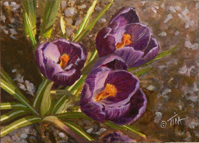 Small 5x7 inch purple crocus painting ©2019 Tina M.Welter
