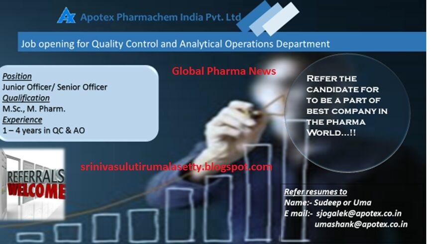 Global Pharma News: QC VACANCY IN APOTEX PHARMACHEM INDIA @ BANGLORE