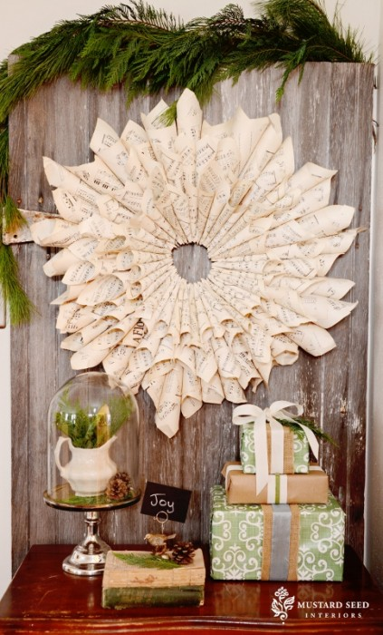 Miss Mustard Seed's book page wreath up for auction at Bella Rustica