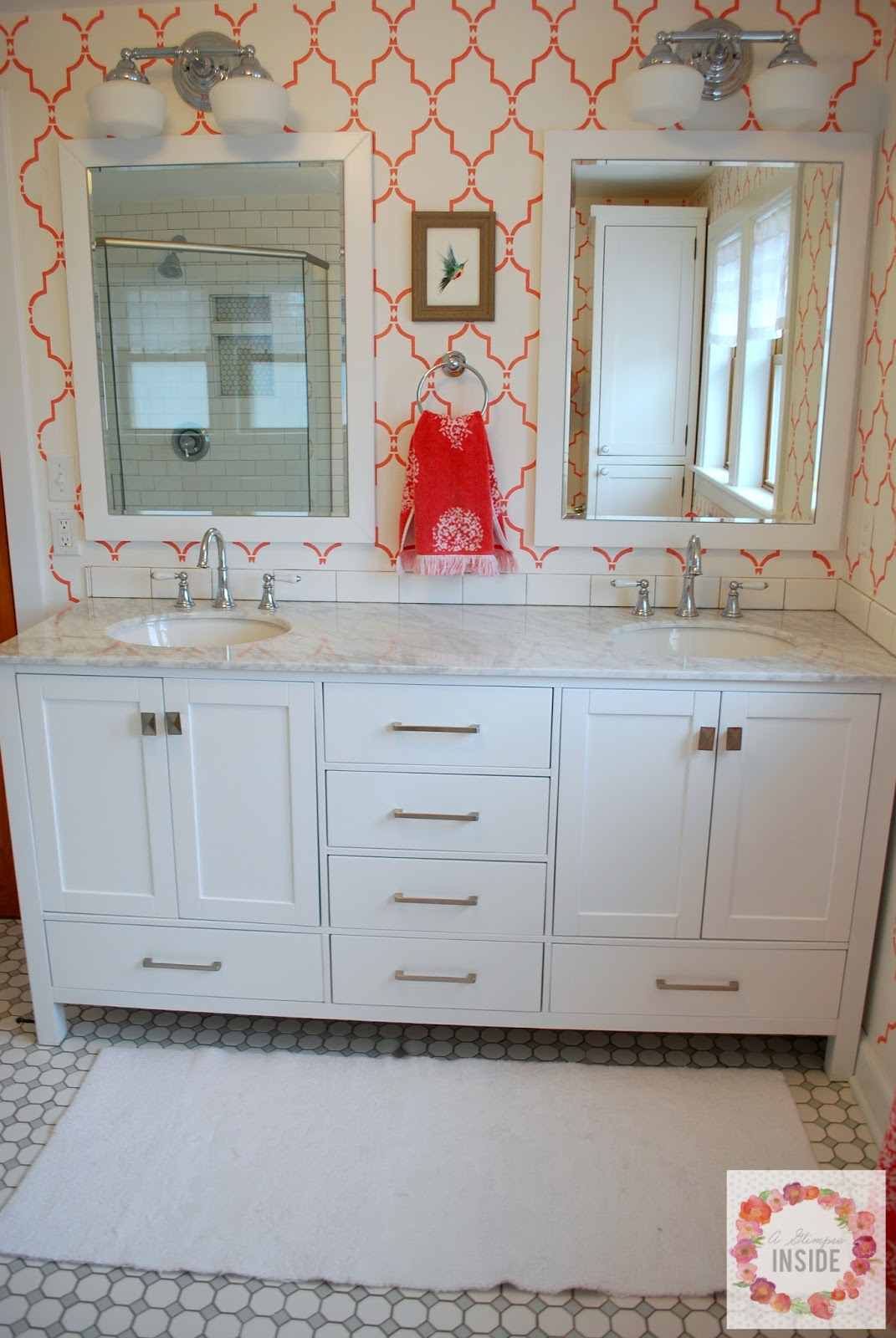 Master Bathroom Reveal | A Glimpse Inside on bathroom wall tile design ideas, wall mount mailbox design ideas, bathroom vanities product, media cabinet design ideas, linen cabinet design ideas,