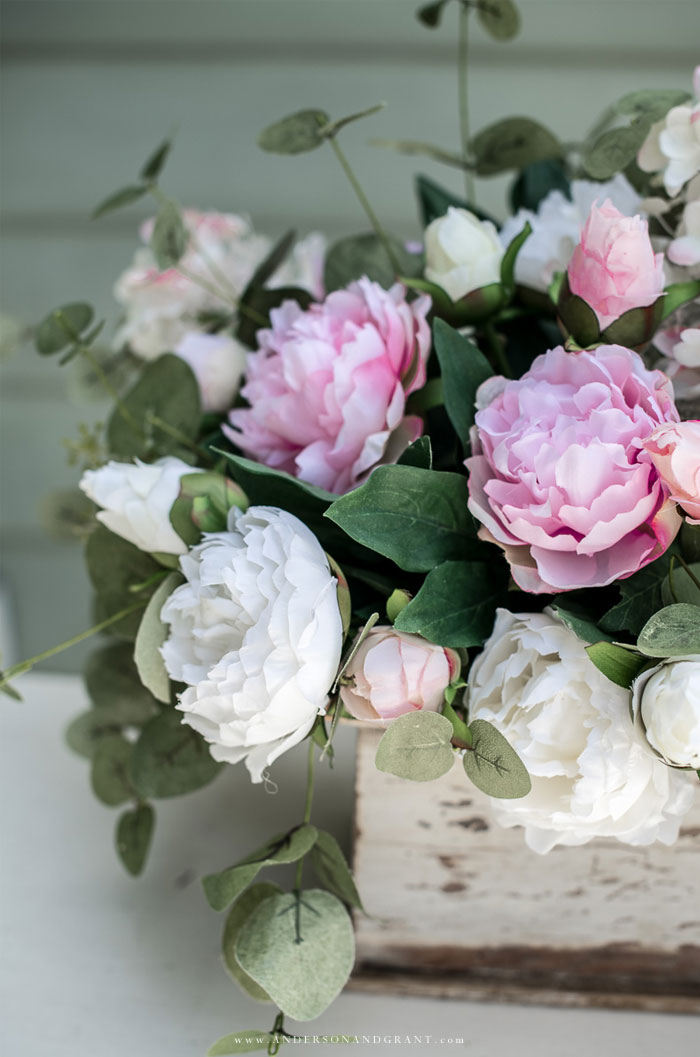 Arrangement of silk pink and white peonies