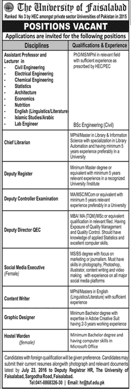 Teaching Faculty Jobs in University of Faisalabad