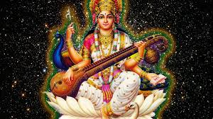 Saraswathi Mata Wallpaper In Black Background