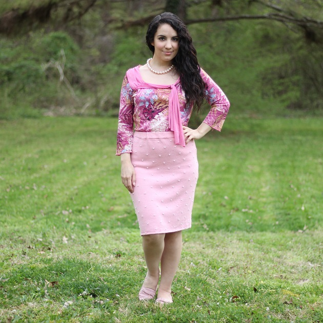 Pink Sweater Skirt with Pearls