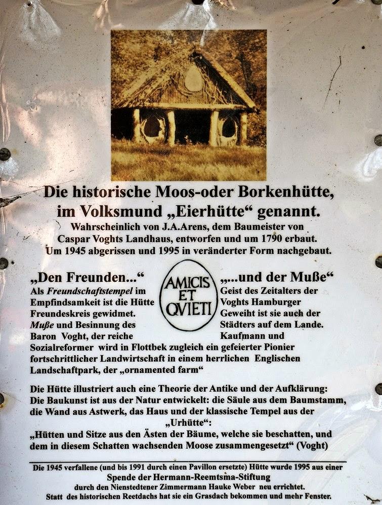 Erklärung zur Moos- und Borkenhütte im Jenischpark