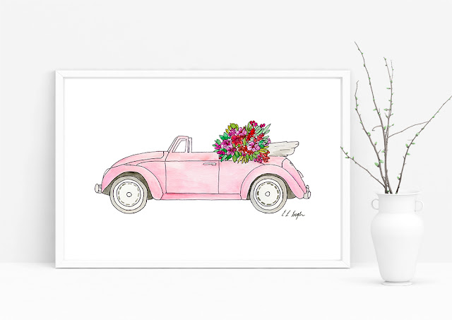 Pink Convertible Watercolor Car Illustration by Elise Engh