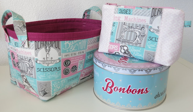 Fabric basket and zip pouch - Sewing theme fabric