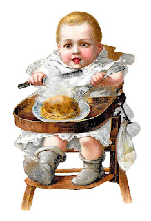 baby highchair victorian clipart pancakes digital download child