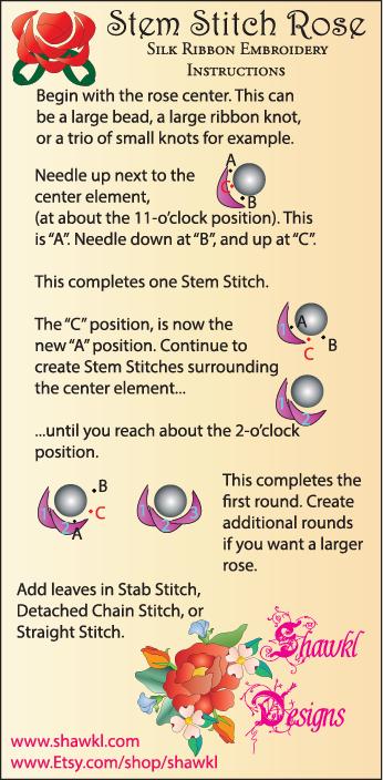 Shawkl Stem Stitch Rose Instructions
