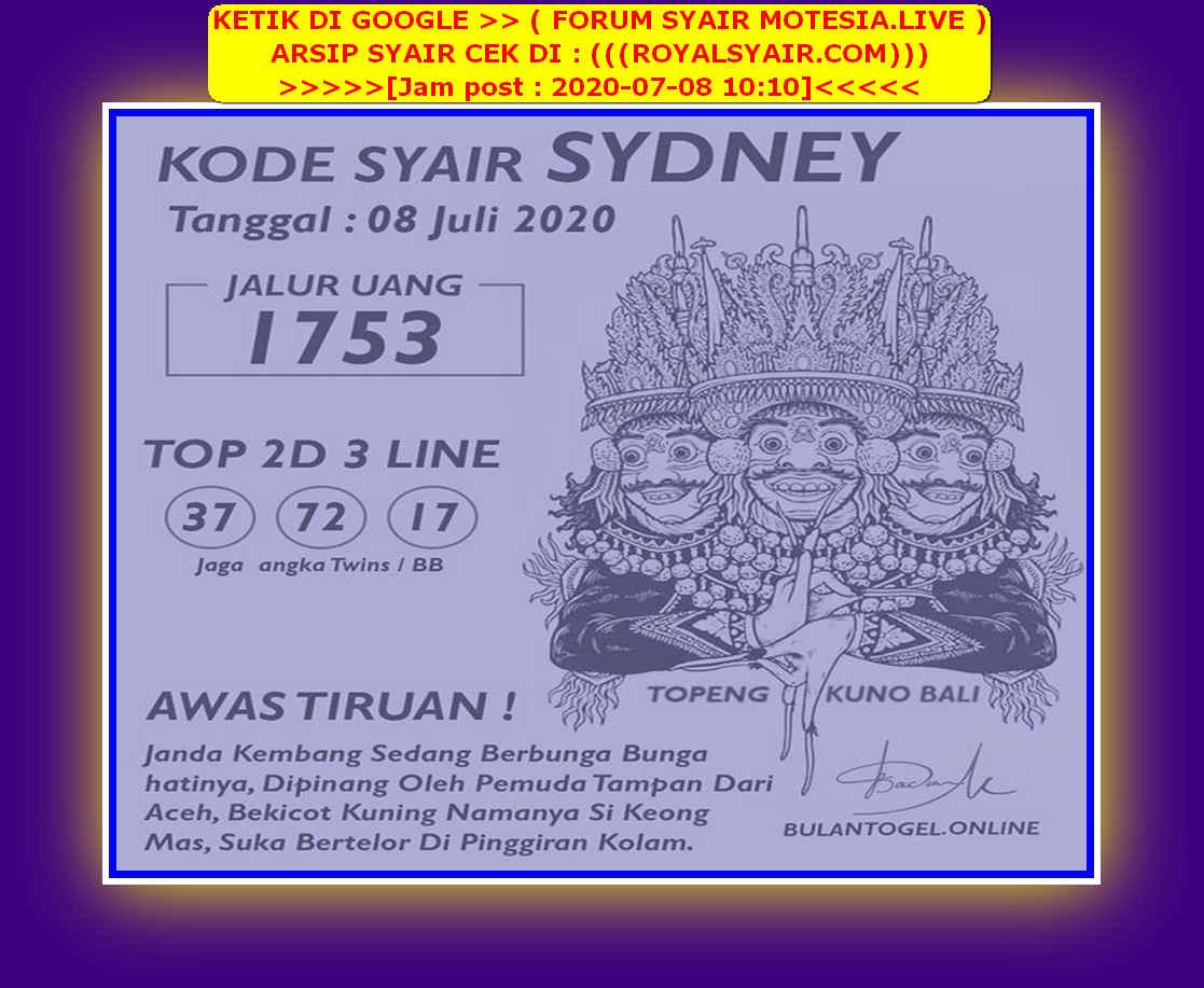 Kode syair Sydney Rabu 8 Juli 2020 168