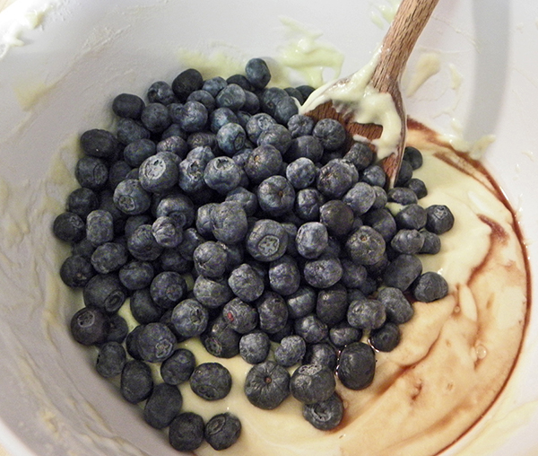 Blueberries and Vanilla Added to Batter