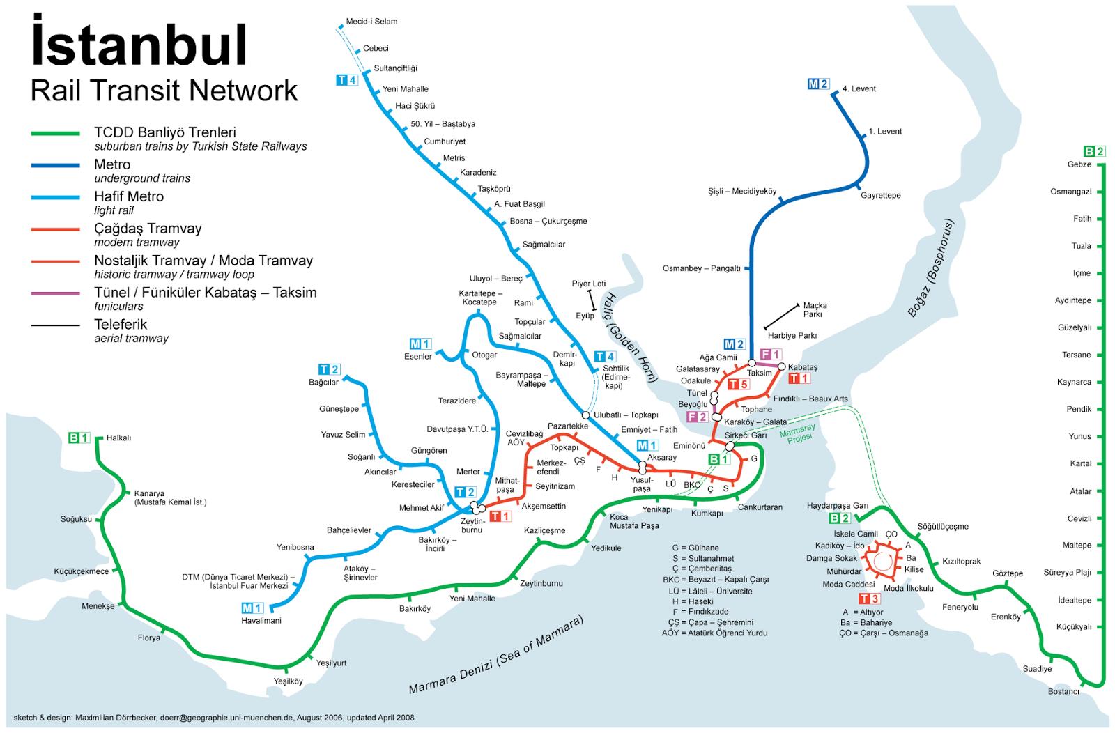 Mapa de Transportes en Estambul