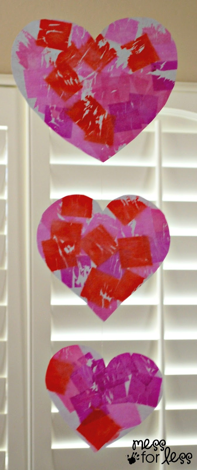 Valentine's Day Mobile with Tissue Paper Dyed Hearts ...